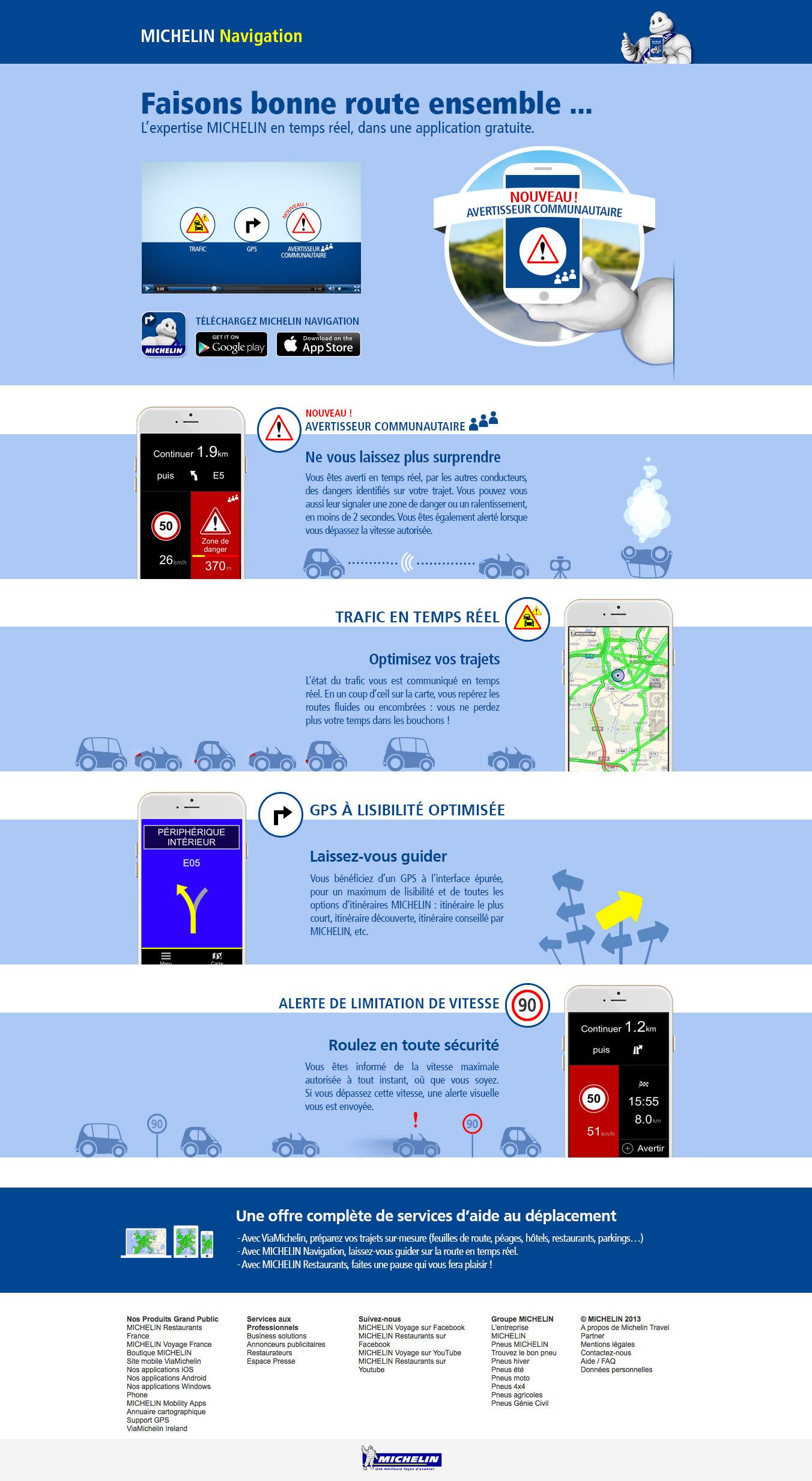 Landing page de la campagne Michelin